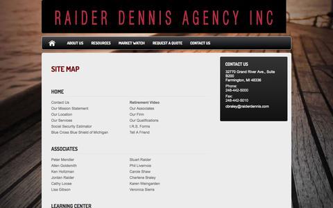 Screenshot of Site Map Page raiderdennis.com - Site Map : Raider Dennis Agency - captured Oct. 9, 2014