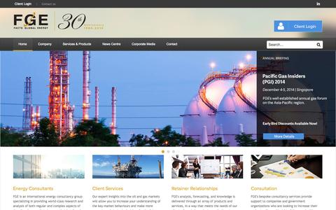 Screenshot of Home Page fgenergy.com - FGE - Energy Consultants | Home - captured Oct. 5, 2014