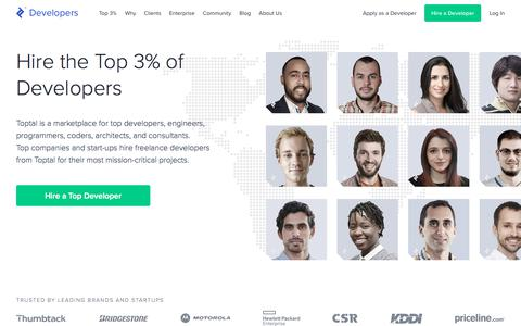 Screenshot of Developers Page toptal.com - Hire Freelance Developers from the Top 3% - Toptal® - captured Dec. 31, 2019