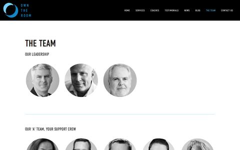Screenshot of Team Page owntheroom.com - Own The Room® | Unleash Your Potential | Public Speaking Training - Presentation Skills Training - Exec Presence Coaches | The Team - captured Aug. 11, 2016