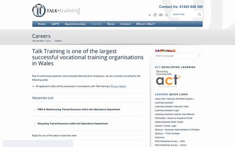 Screenshot of Jobs Page talktraining.co.uk - Careers - TALK training - captured Nov. 19, 2018