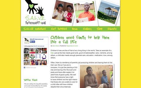Screenshot of Press Page salveinternational.org - SALVE International   Support & Love via Education - captured Sept. 30, 2014
