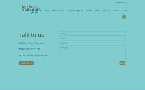Screenshot of Contact Page jardinenaturals.com - jardine | Contact - captured Nov. 27, 2018