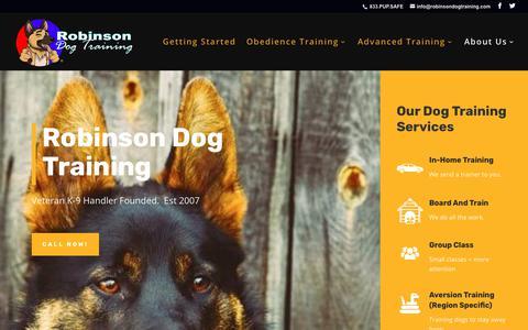 Screenshot of Home Page robinsondogtraining.com - Robinson Dog Training | Veteran Dog Trainer | Phoenix - captured Nov. 7, 2018