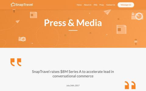 Screenshot of Press Page snaptravel.com - Press & Media   SnapTravel - captured Nov. 2, 2018