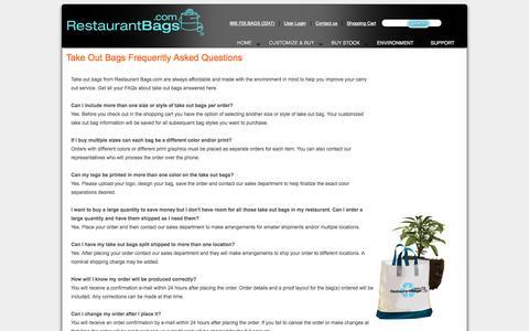Screenshot of FAQ Page restaurantbags.com - faq - captured Oct. 8, 2014