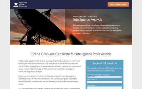Screenshot of Landing Page apus.edu - Online Graduate Certificate in Intelligence Analysis | American Military University - captured June 1, 2016