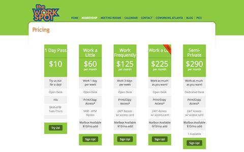 Screenshot of Pricing Page workatthespot.com - Pricings Plans @ The Work Spot Atlanta Coworking & Shared Office Space | Coworking in Duluth, GA | Serving Gwinnett & NE Atlanta | The Work Spot - captured Oct. 7, 2014