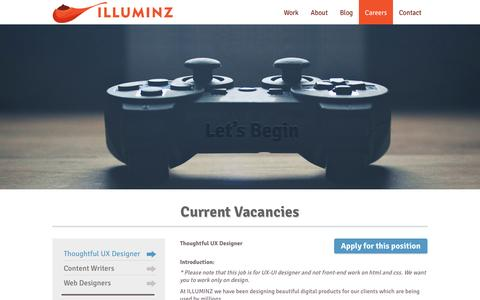 Screenshot of Jobs Page illuminz.com - Careers at ILLUMINZ. Join the best if you're the best. - captured May 25, 2017