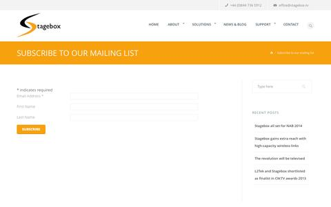 Screenshot of Signup Page stagebox.tv - Subscribe to our mailing list | Stagebox - captured Sept. 30, 2014