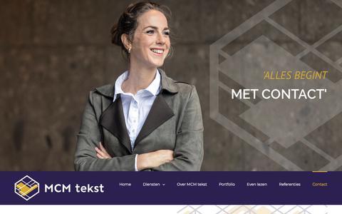 Screenshot of Contact Page mcmtekst.nl - Contact - MCM tekst - captured July 26, 2018