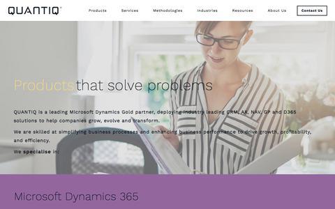 Screenshot of Products Page quantiq.com - Microsoft Dynamics Product Suite | D365, AX, CRM, NAV, GP & Analytics - captured July 8, 2018