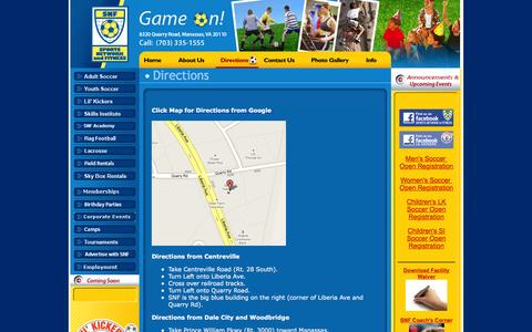 Screenshot of Maps & Directions Page snflive.com - Directions - SNFlive.com Northern Virginia Sports and Fun Center – Indoor Soccer Lacrosse Fields - captured Feb. 15, 2016