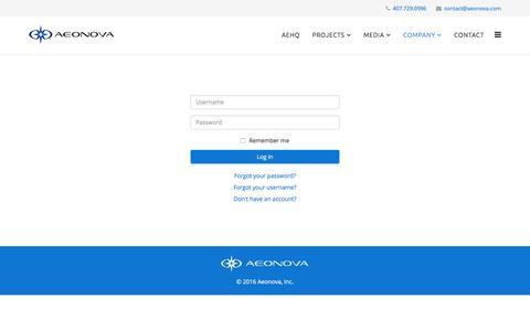 Screenshot of Login Page aeonova.com - AEONOVA - Login - captured Nov. 20, 2016