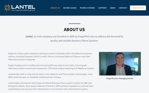Screenshot of About Page lantel.ie - About us | Lantel - captured Jan. 26, 2016