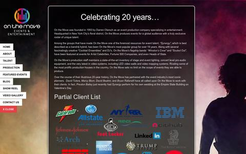 Screenshot of About Page onthemove.com - Celebrating 20 years... | - captured Oct. 26, 2014