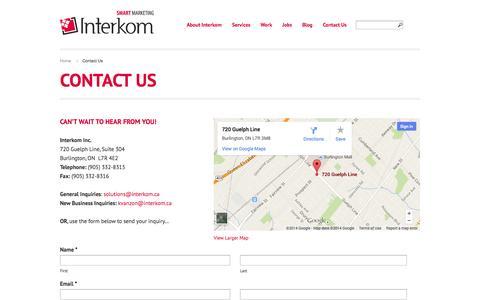 Screenshot of Contact Page interkom.ca - Contact Interkom | Interkom Inc. - captured Sept. 30, 2014