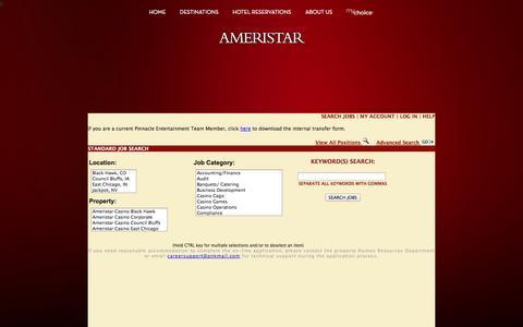 Screenshot of Jobs Page ameristar.com - Ameristar Casinos Inc. | Official Website - captured Nov. 3, 2014