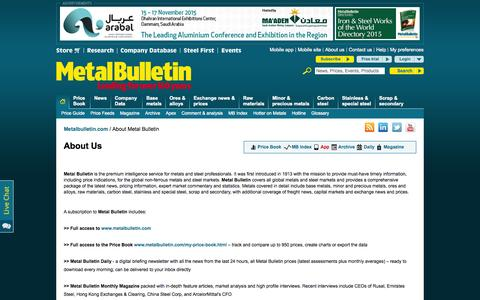 Screenshot of About Page metalbulletin.com - Leading source of steel and metal news and metal prices   Metal Bulletin - captured Oct. 21, 2015