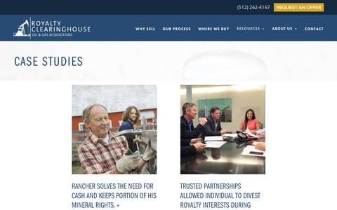 Screenshot of Case Studies Page royaltyclearinghouse.com - Case Studies - Royalty Clearinghouse - captured Nov. 1, 2019