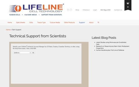 Screenshot of Support Page lifelinecelltech.com - Human Cells and Optimized Media Technical Support - captured Nov. 7, 2016