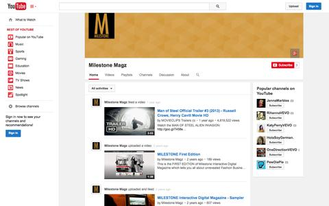 Screenshot of YouTube Page youtube.com - Milestone Magz  - YouTube - captured Nov. 4, 2014