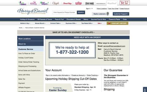 Screenshot of Support Page harryanddavid.com - Harry & David | Customer Service - captured May 9, 2017