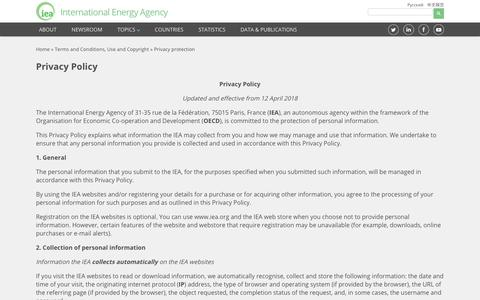 Screenshot of Privacy Page iea.org - Privacy protection - captured Oct. 1, 2018