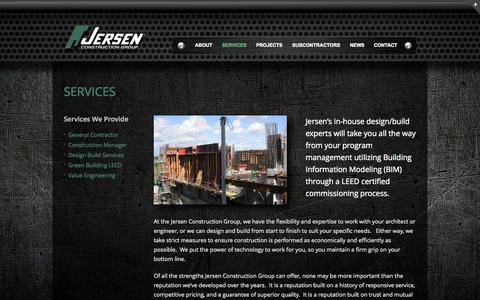 Screenshot of Services Page jersen.com - Services - Jersen Construction - captured Oct. 6, 2014