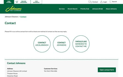 Screenshot of Contact Page johnsoncleaners.com - Contact | Johnson Cleaners - captured Sept. 22, 2018