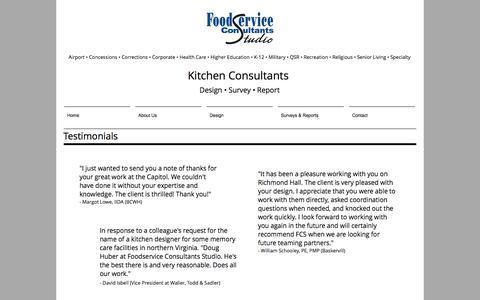 Screenshot of Testimonials Page foodserviceconsultantsstudio.com - Foodservice Consultants Studio | Testimonials - captured Aug. 19, 2018