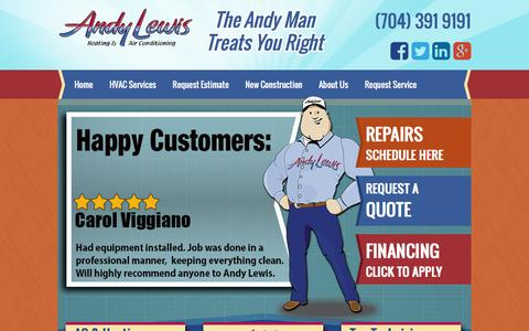 Screenshot of Home Page andylewishvac.com - Andy Lewis Heating and Cooling in Charlotte NC - captured Feb. 6, 2016