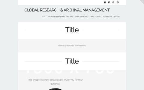 Screenshot of Home Page graam.ca - Demo: Home - Global Research & Archival Management - captured Sept. 28, 2018