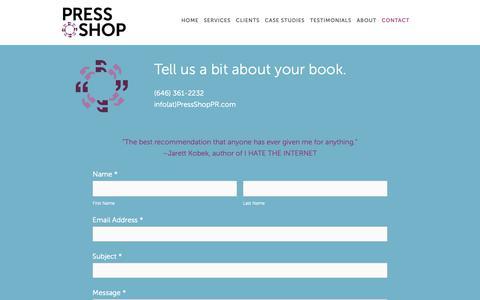 Screenshot of Contact Page pressshoppr.com - Contact — Press Shop - captured Nov. 5, 2018