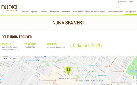 Screenshot of Contact Page nubiaspavert.ca - Nubia Spa Vert - Nous joindre - captured Oct. 19, 2018