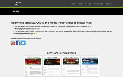 Screenshot of Press Page digitaltribegames.com - PRESS - Digital Tribe Games | Indie Game Publisher - captured Sept. 30, 2014