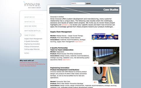 Screenshot of Case Studies Page innovize.com - Case Studies «  Innovize - captured Dec. 13, 2018