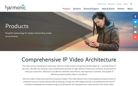 Screenshot of Products Page harmonicinc.com - Comprehensive IP Video Architecture | Harmonic - captured Oct. 26, 2016