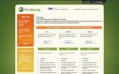 Screenshot of Pricing Page plangenius.com - PlanGenius.com - Pricing - captured Oct. 2, 2014