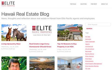 Screenshot of Blog elitepacific.com - Hawaii Real Estate Blog – Elite Pacific - captured Aug. 12, 2018