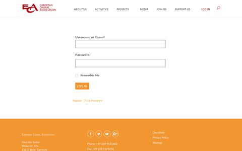 Screenshot of Login Page europeanchoralassociation.org - Log In | European Choral Association - captured Nov. 11, 2018