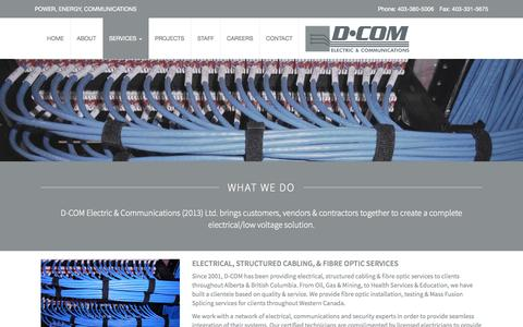 Screenshot of Services Page d-com.ca - Services | D-COM Electric & Communications Ltd. - captured Nov. 3, 2014
