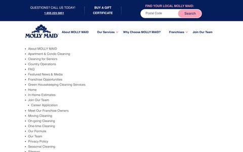 Screenshot of Site Map Page mollymaid.ca - Sitemap | Molly Maid - captured Jan. 29, 2020