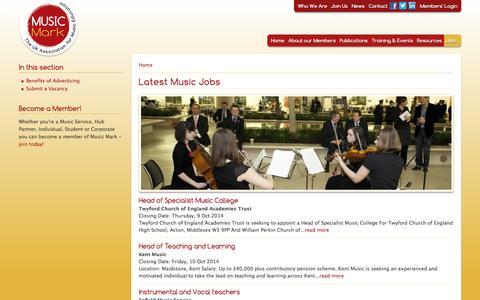 Screenshot of Jobs Page musicmark.org.uk - Latest Music Jobs   The UK Association for Music Education – Music Mark - captured Oct. 6, 2014
