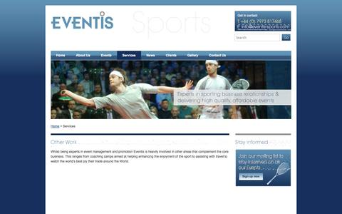 Screenshot of Services Page eventis-sports.com - Other Work - captured Oct. 3, 2014