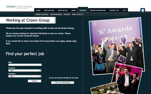 Screenshot of Jobs Page crowngroup.co.uk - Working at Crown Group | Crown Group - captured Oct. 7, 2014