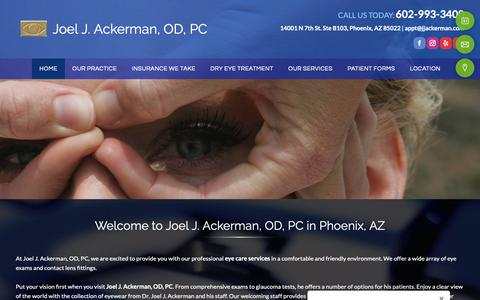 Screenshot of Home Page drjoelackerman.com - Eye Exams | Phoenix AZ | Joel J. Ackerman, OD, PC - captured Nov. 14, 2018