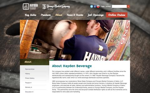 Screenshot of About Page haydenbeverage.com - About Hayden Beverage - captured Nov. 4, 2018