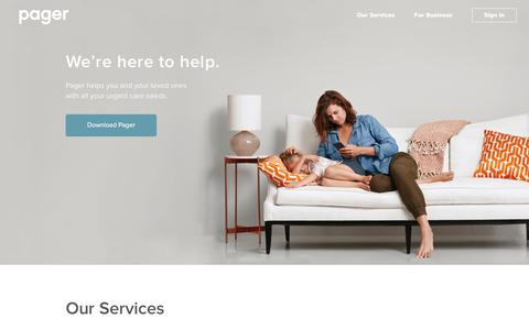 Screenshot of Services Page getpager.com - On-Demand House Call Doctors In NYC - captured Aug. 9, 2016