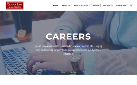 Screenshot of Jobs Page carpolaw.com - Legal Career Opportunities | Law Firm in BGC | Carpo Law & Associates - captured July 16, 2018